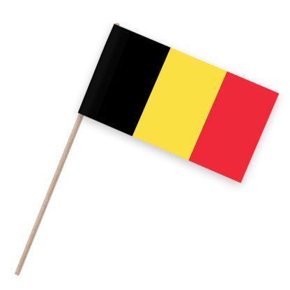 Papierfahnen auf Holzstab mit Belgien als Motiv