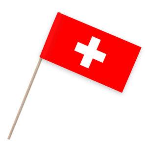 Schweiz Papierfähnchen Holzstab